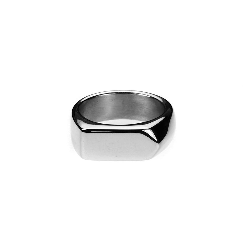 Elegant Beautiful Long Signet Solid White Gold Ring By Jewelry Lane