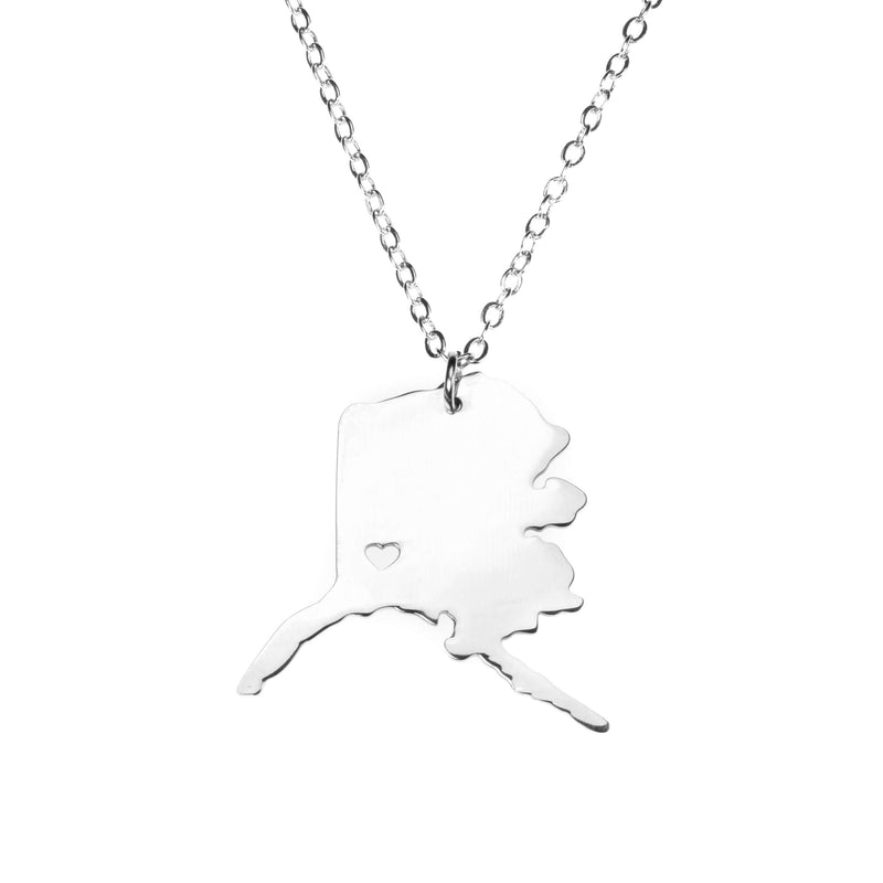 Beautiful Modern Love Alaska Map Design Solid White Gold Necklace By Jewelry Lane