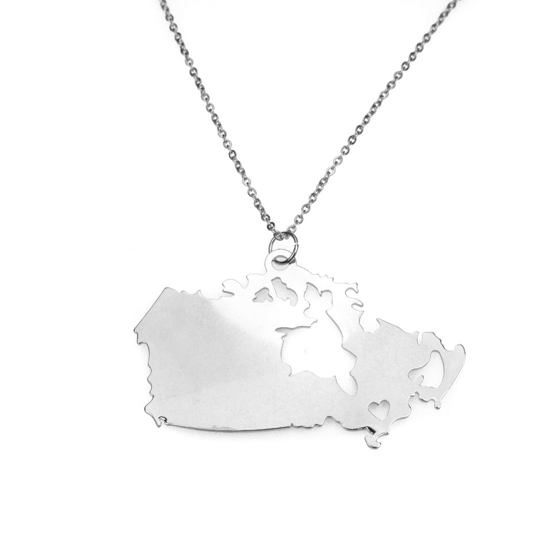 Beautiful Modern Canada Map Love Solid White Gold Pendant By Jewelry Lane