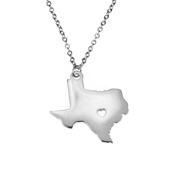 Beautifully Crafted State Texas Map Love Solid White Gold Pendant By Jewelry Lane