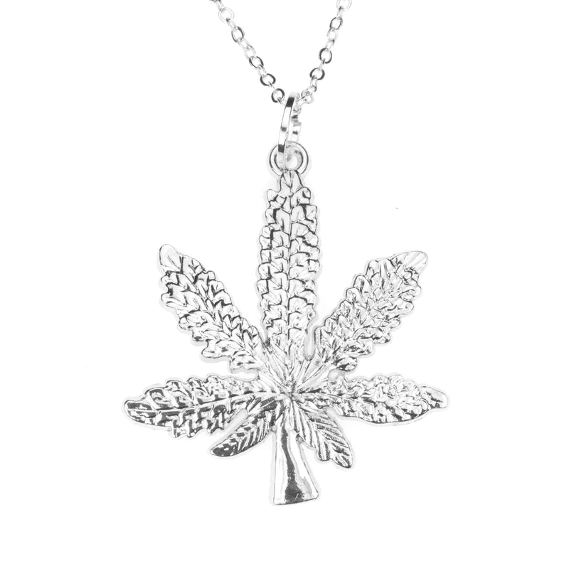 Beautiful Unique Marijuana Leaf Design Solid White Gold Pendant By Jewelry Lane