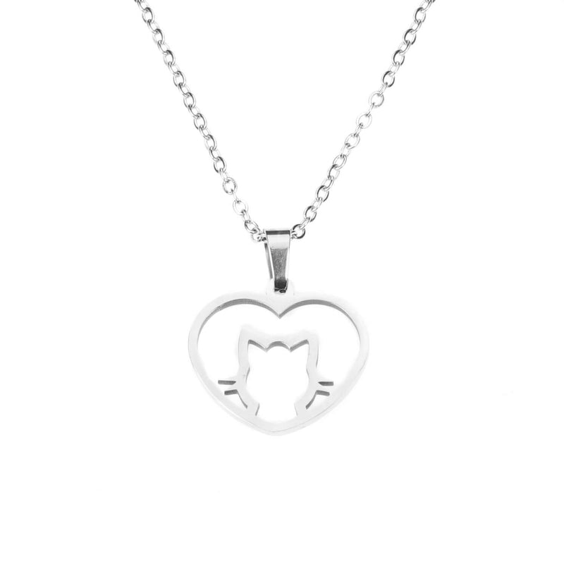 Beautiful Charming Cat Love Heart Solid White Gold Pendant By Jewelry Lane