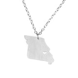 Elegant Unique Missouri State Design Solid White Gold Pendant By Jewelry Lane