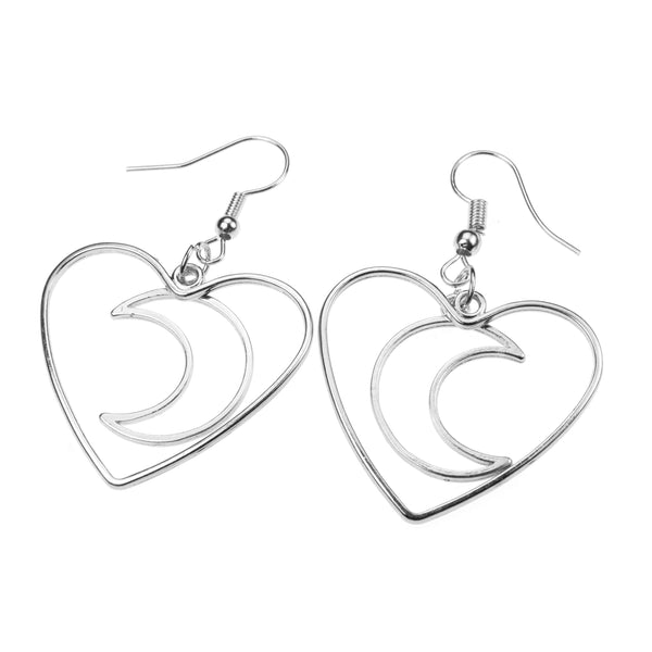 Beautiful Charming Moon In Heart Drop Solid White Gold Earrings By Jewelry Lane