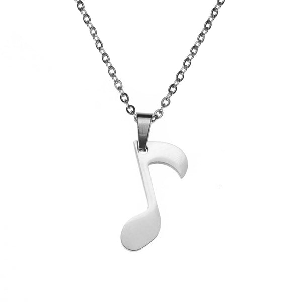 Charming Unique Music Note Design Solid White Gold Necklace By Jewelry Lane