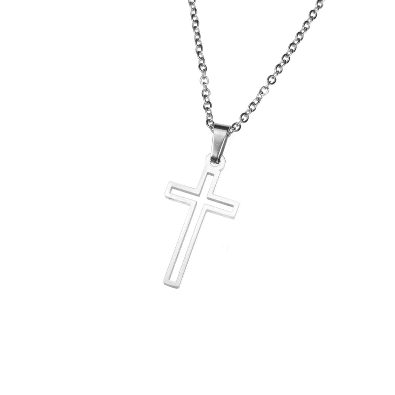 Elegant Religious Open Cross Solid White Gold Pendant By Jewelry Lane