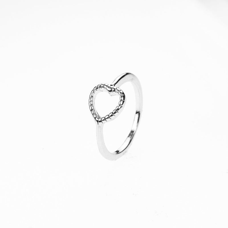 Beautiful Classic Open Heart Stacker Solid White Gold Ring By Jewelry Lane
