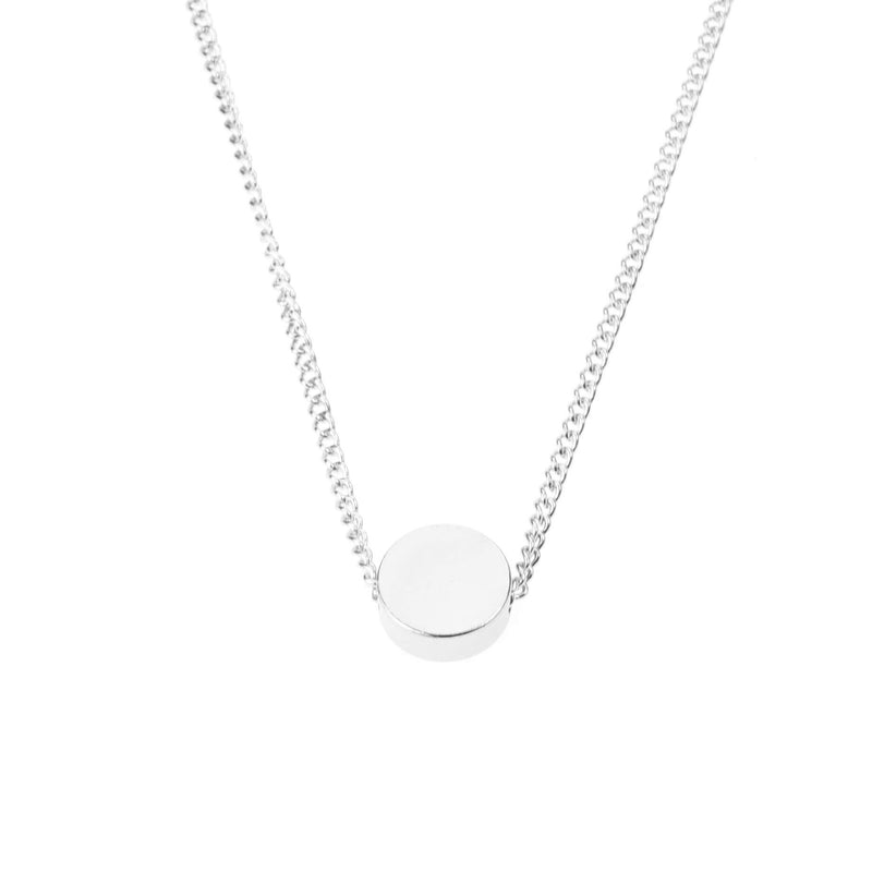 Plain Simple Round Pill Design Solid White Gold Necklace By Jewelry Lane