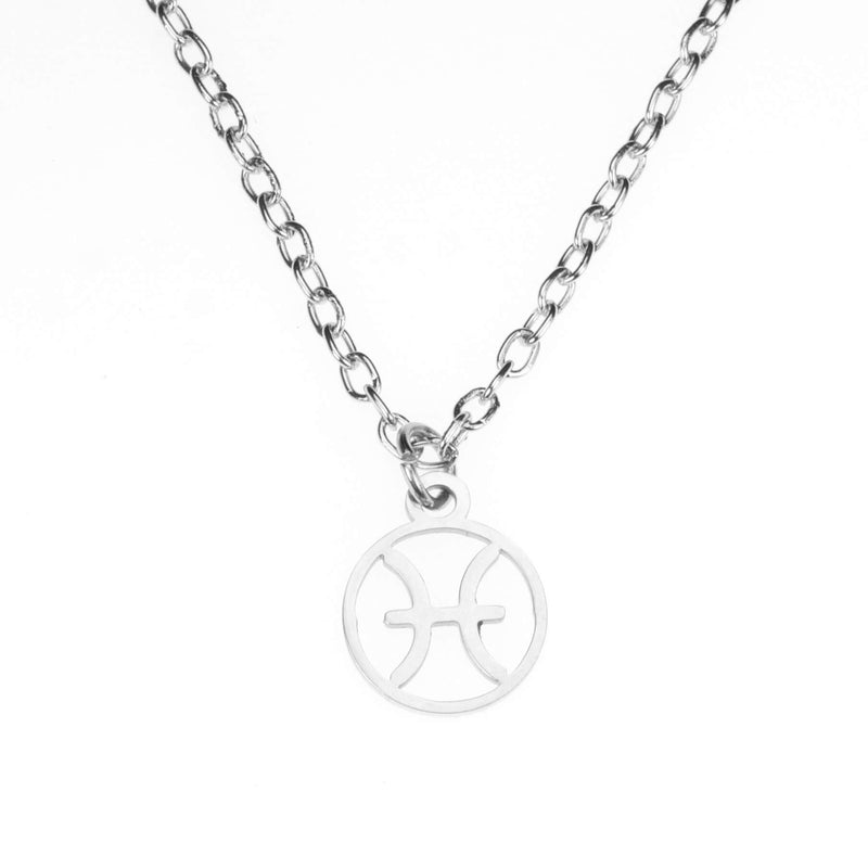 Charming Zodiac Pisces Minimalist Solid White Gold Pendant By Jewelry Lane