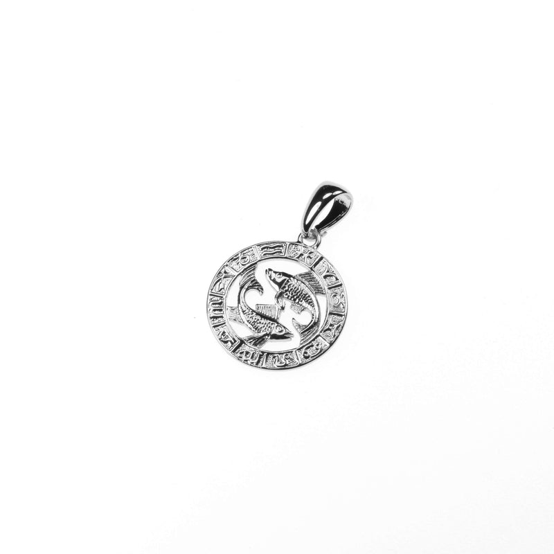 Beautiful Zodiac Pisces Solid White Gold Pendant By Jewelry Lane