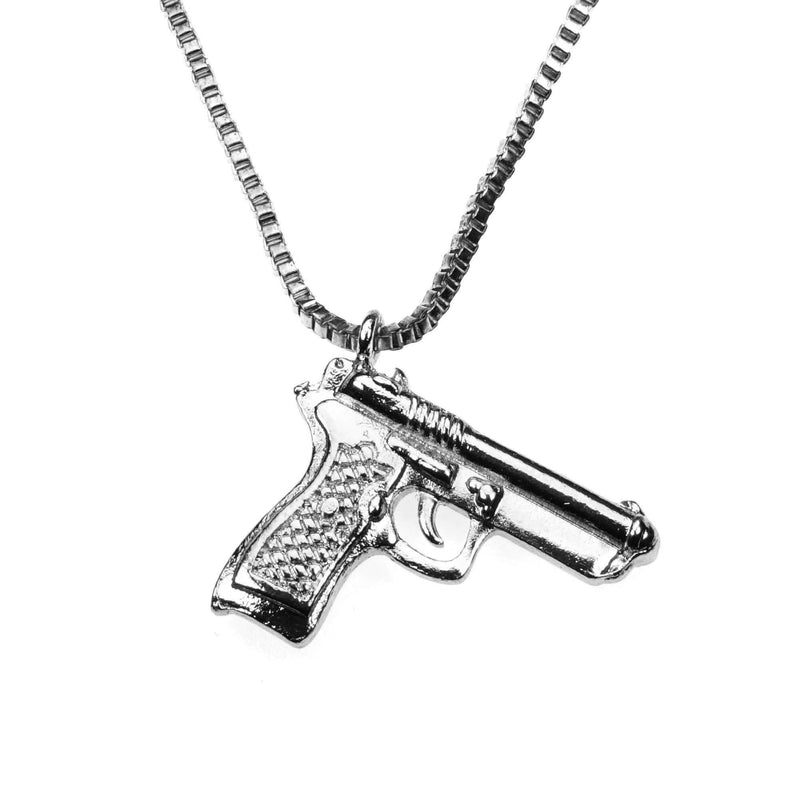 Unique Modern Weapon Pistol Design Solid White Gold Pendant By Jewelry Lane