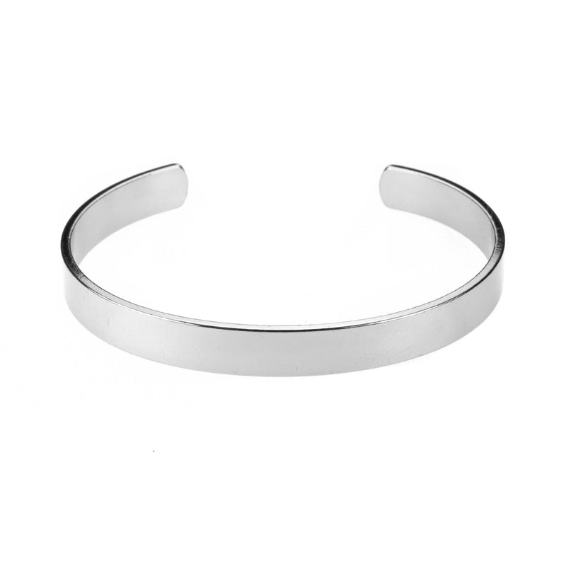 Smart And Chic Open Plain Cuff Solid White Gold Bangle By Jewelry Lane