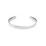 Elegant Simple Plain Cuff Solid White Gold Armband Bangle By Jewelry Lane