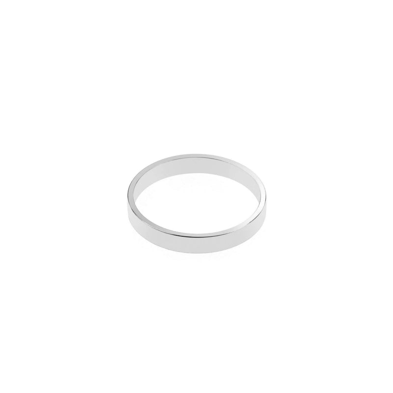 Elegant Plain Simple Evergreen Flat Solid White Gold Band Ring By Jewelry Lane