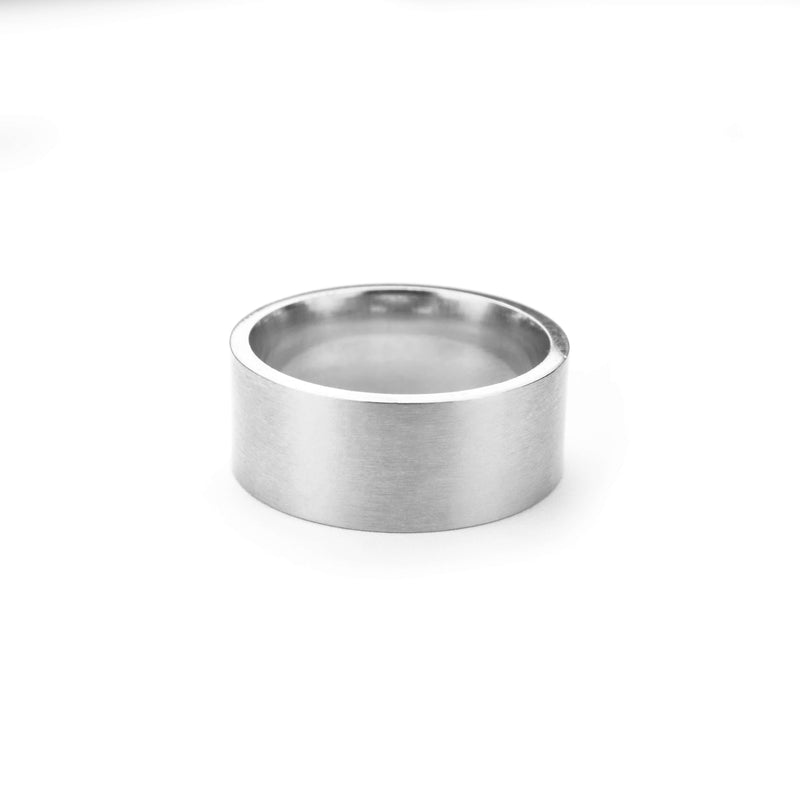 Beautiful Modern Timeless Flat Solid White Gold Ring By Jewelry Lane