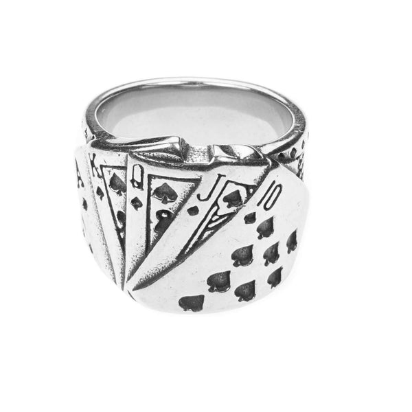 Modern Unique Playing Card Design Solid White Gold Ring By Jewelry Lane