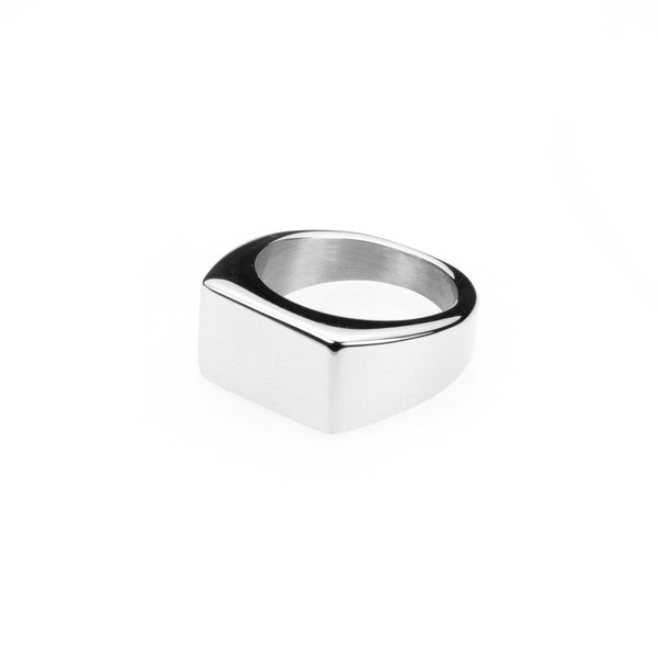 Elegant Plain Rectangle Signet Solid White Gold Ring By Jewelry Lane
