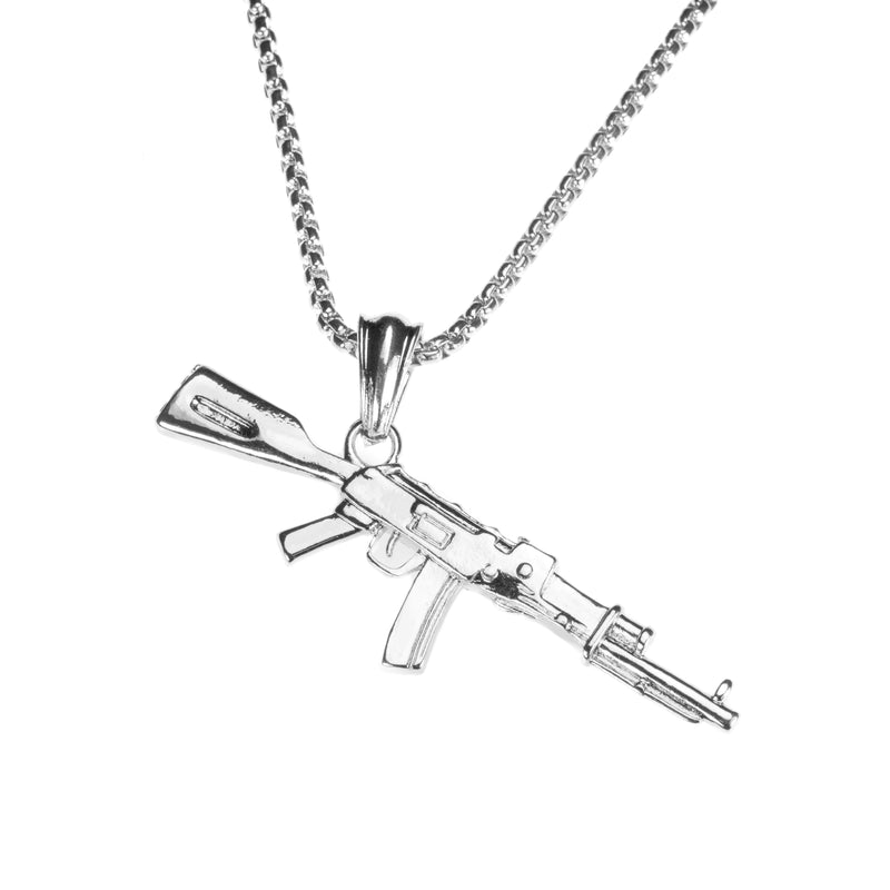 Beautiful Vintage Weapon Rifle Design Solid White Gold Pendant By Jewelry Lane