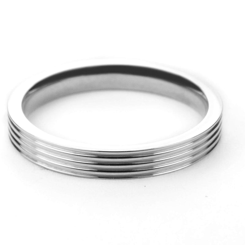 Stylish Grooved Solid White Gold Ring By Jewelry Lane