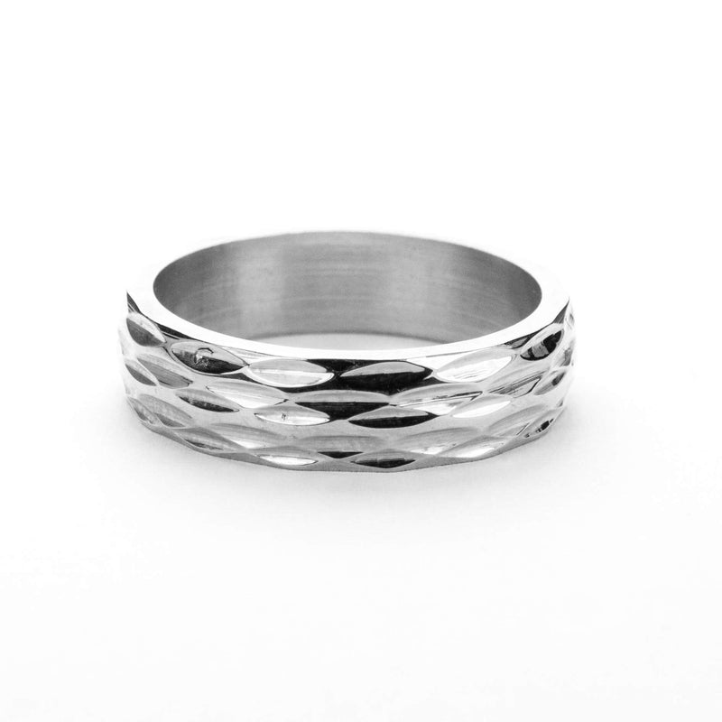 Elegant Geometrical Concave Textured Solid White Gold Ring By Jewelry Lane