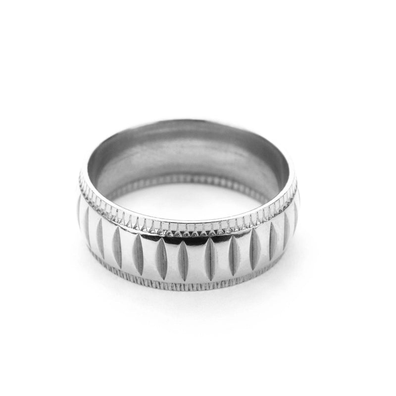Simple Elegance Classic Machine Cut Solid White Gold Ring By Jewelry Lane