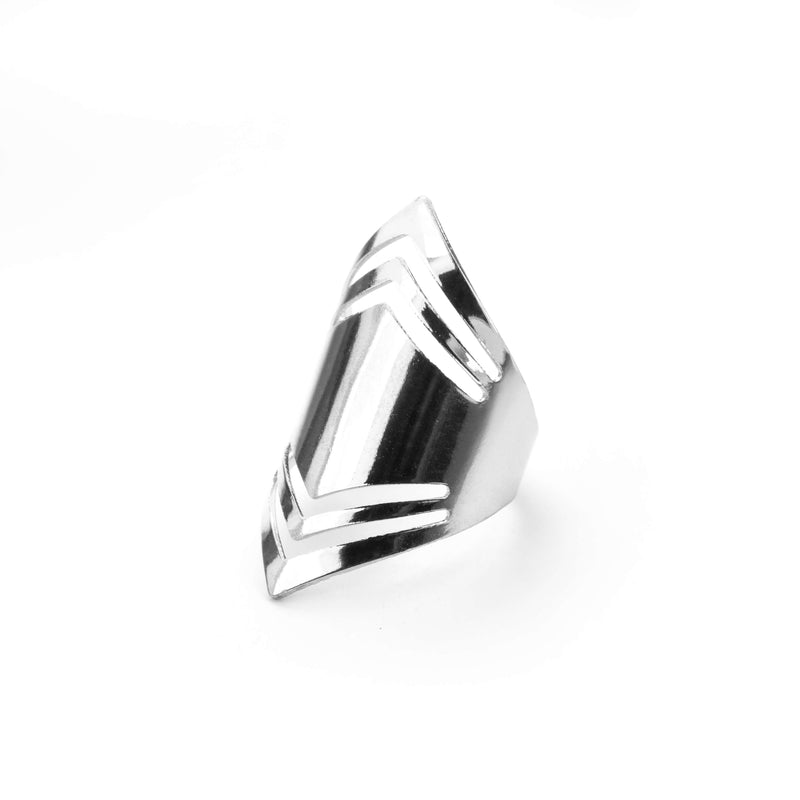 Elegant Amazonian Elongated Solid White Gold Ring By Jewelry Lane