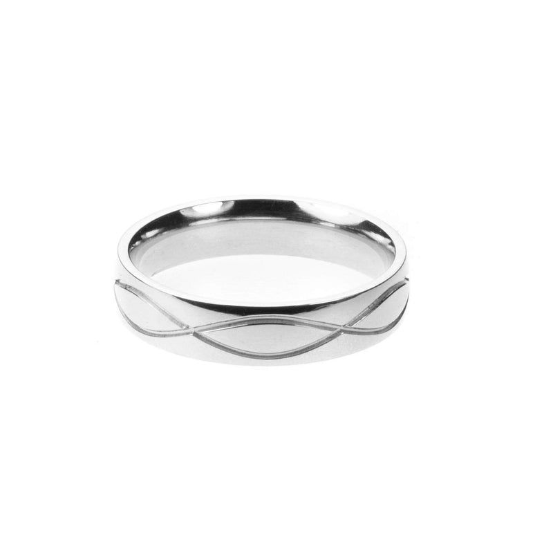 Wave Cut Solid White Gold Band By Jewelry Lane