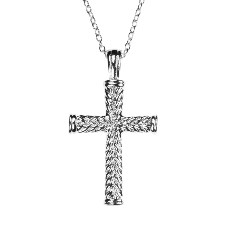 Beautiful Religious Jesus Cross Rope Style Solid White Gold Pendant By Jewelry Lane