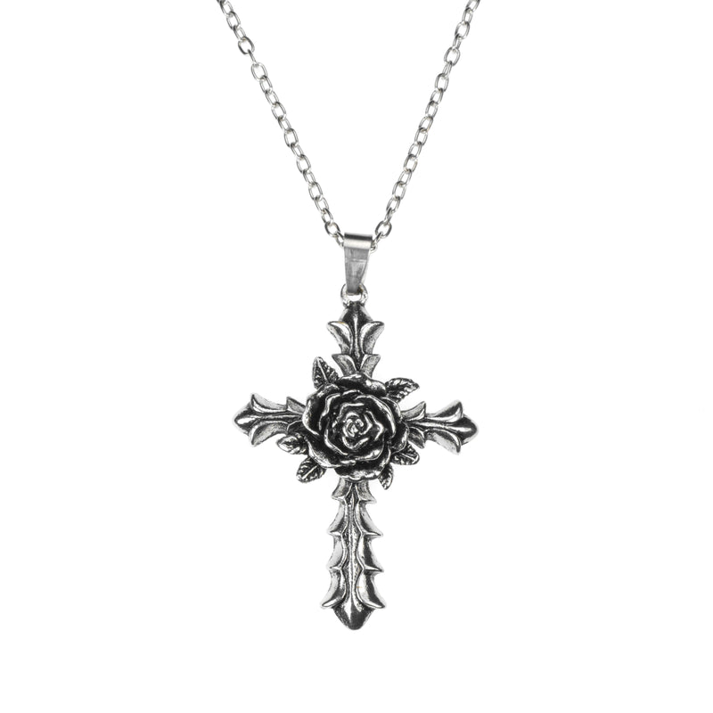 Beautiful Unique Centered Rose Cross Solid White Gold Pendant By Jewelry Lane