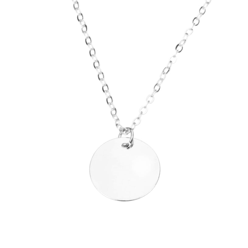 Simple Plain Round Blank Tag Design Solid White Gold Pendant By Jewelry Lane