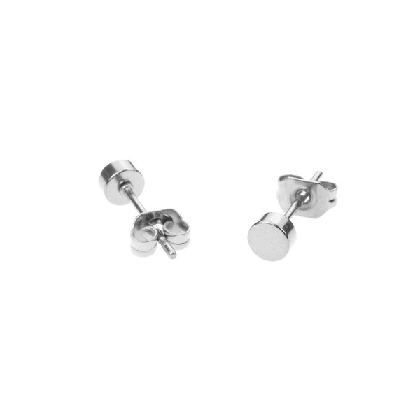 Simple Evergreen Small Round Solid White Gold Stud Earrings By Jewelry Lane