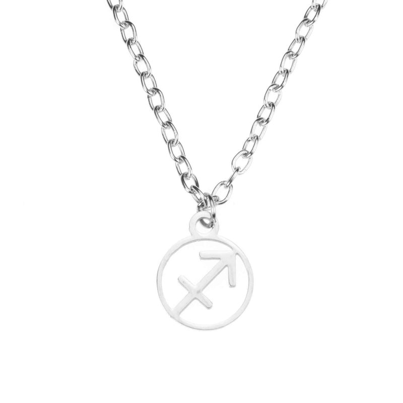 Charming Zodiac Sagittarius Minimalist Solid White Gold Pendant By Jewelry Lane