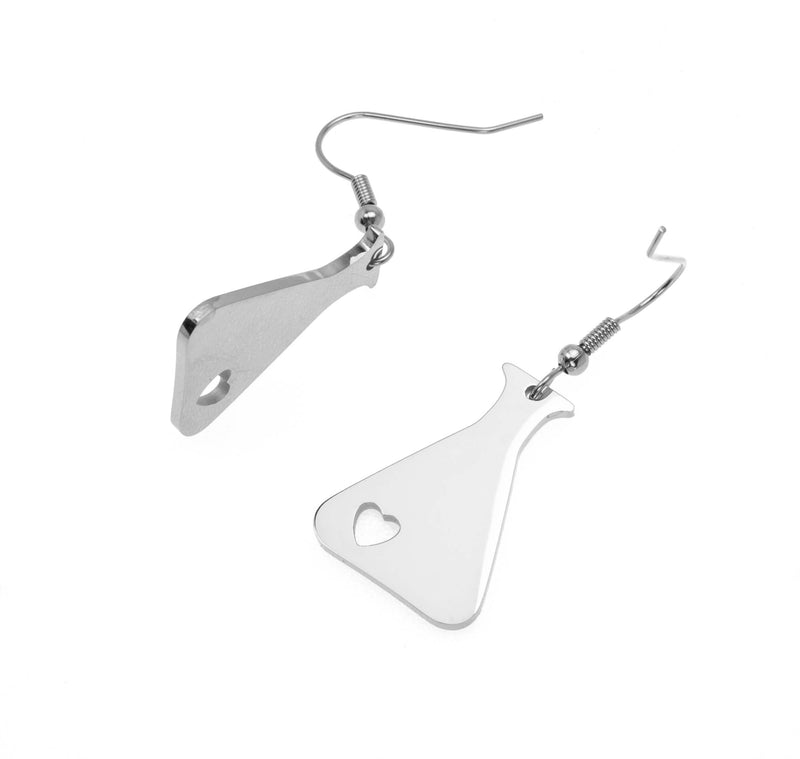 Beautiful Design Science Beaker Solid White Gold Love Earrings By Jewelry Lane