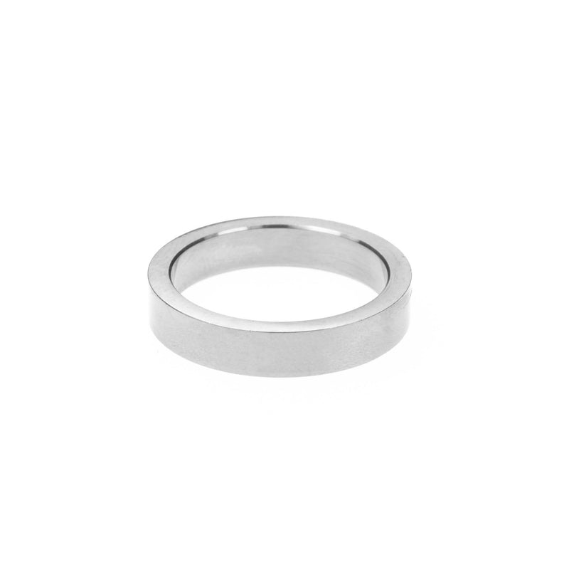 Elegant Simple Evergreen Flat Solid White Gold Band Ring By Jewelry Lane