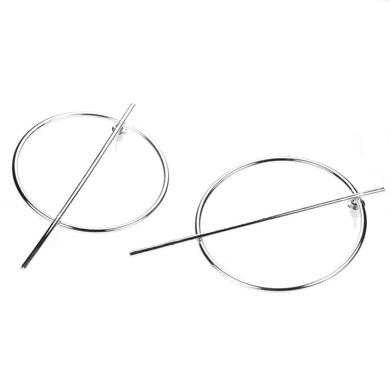 Beautiful Classic Endless Hoop Solid White Gold Earrings By Jewelry Lane
