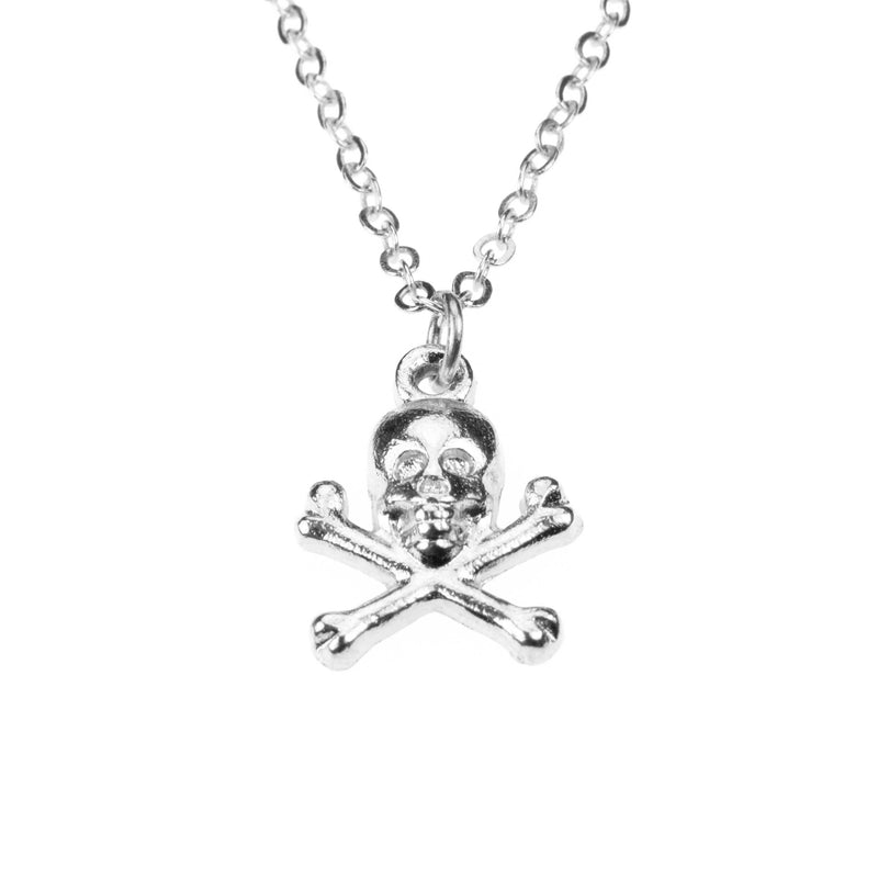 Classic Skull Crossbone Danger Sign Solid White Gold Pendant By Jewelry Lane