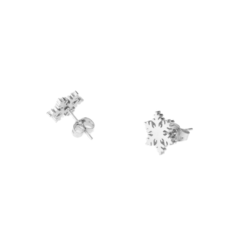 Elegant Unique Snowflakes Solid White Gold Stud Earrings By Jewelry Lane