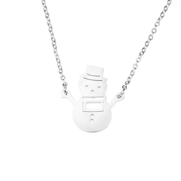 Beautiful Charming Snowman Solid White Gold Necklace By Jewelry Lane