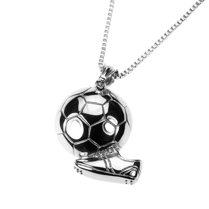 Exquisite Sporty Soccer Ball Design Solid White Gold Pendant By Jewelry Lane