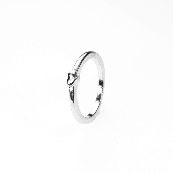 Simple Elegance Heart Stacker Solid White Gold Ring By Jewelry Lane