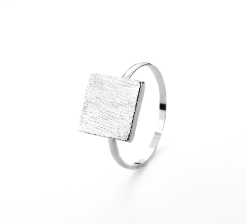 Elegant Plain Square Plate Stacker Solid White Gold Ring By Jewelry Lane