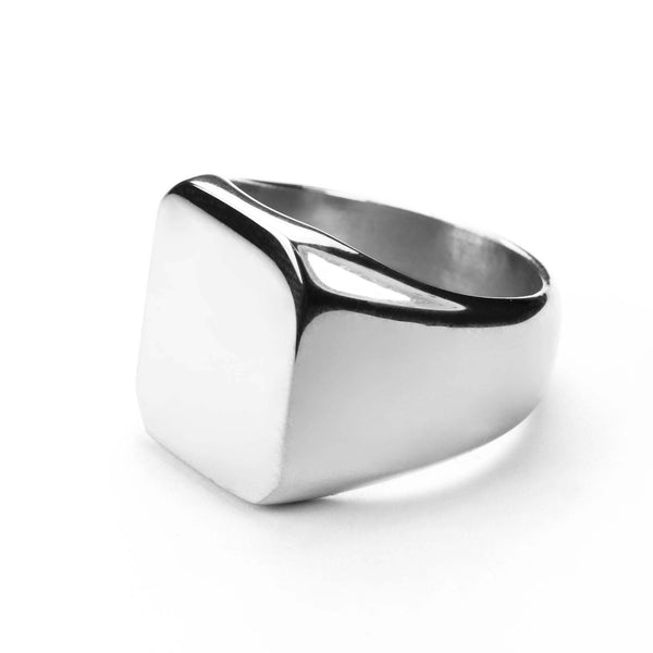 Square Statement Signet Solid White Gold Ring By Jewelry Lane