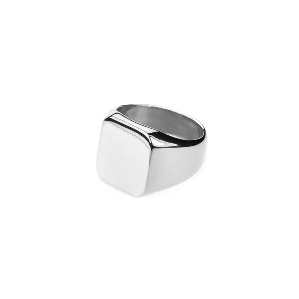 Simple Plain Square Statement Solid White Gold Ring By Jewelry Lane