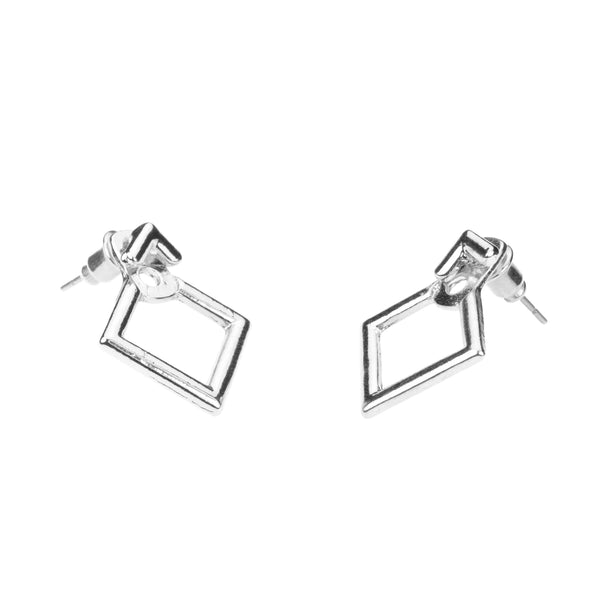 Simple Charming Square Stud Solid White Gold Earrings By Jewelry Lane
