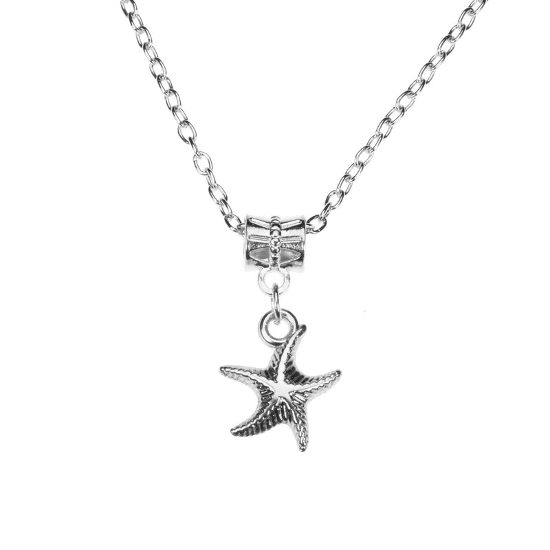 Simple Charming Dangling StarFish Design Solid White Gold Pendant By Jewelry Lane