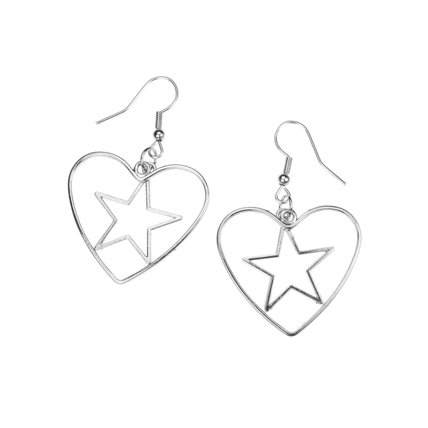 Beautiful Classic Star In Heart Drop Solid White Gold Earrings By Jewelry Lane