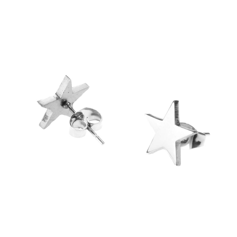 Beautiful Charming Star Stud Solid White Gold Earrings By Jewelry Lane