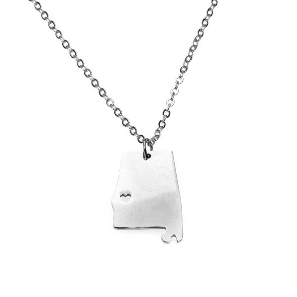 Elegant Simple Mississippi State Map Solid White Gold Pendant By Jewelry Lane