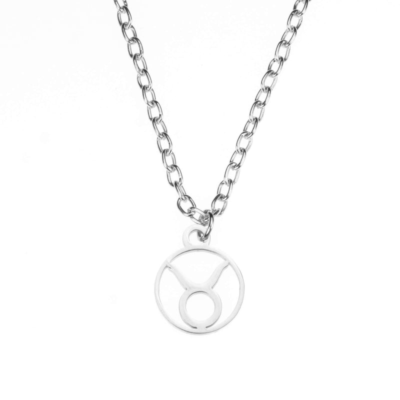 Charming Zodiac Taurus Minimalist Solid White Gold Pendant By Jewelry Lane