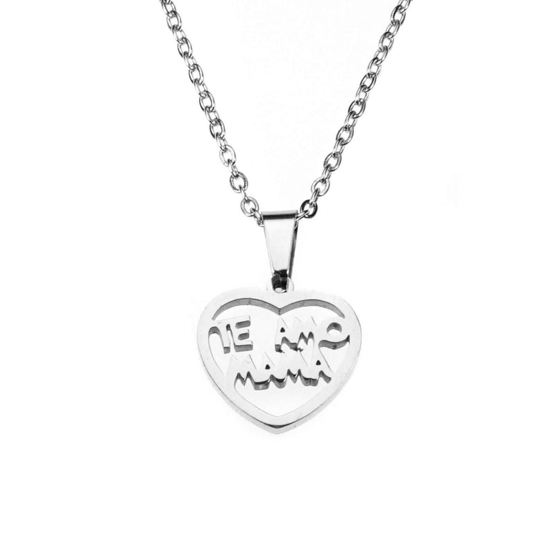 Beautiful Simple Expressive Te Amo Mama Solid White Gold Pendant By Jewelry Lane